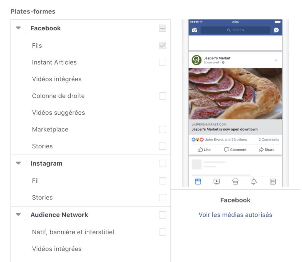 publicité facebook 2019